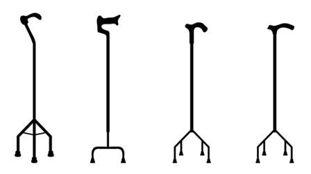Ein Gehstock mit vier Füßen kann mehr Stabilität bieten